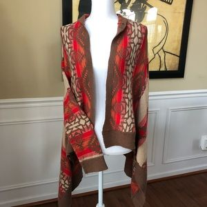 H&M Tribal Aztec Print Waterfall Cardigan Sweater